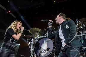 Carrie Underwood with Thousand Foot Krutch in Tulsa, OK - Photo credit:  Angela Huckeby