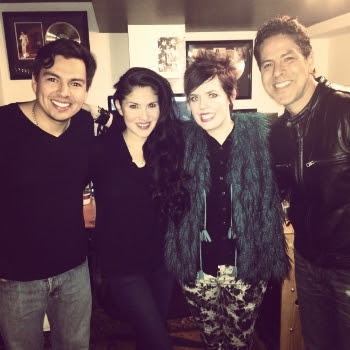 Pictured in the studio (L-R): Nic Gonzales, Jaci Velasquez, Yancy and Chris Rodriguez